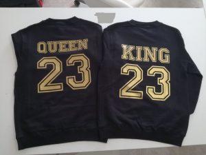 Moda delle coppie di felpe King e queen con numeri